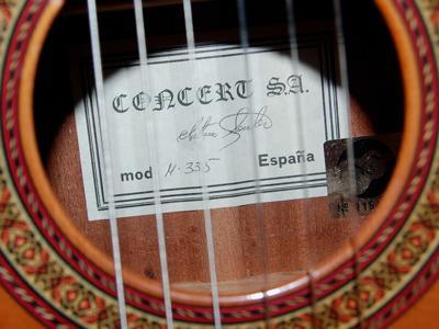 Electro Acoustic Sanchez guitar: maker's label