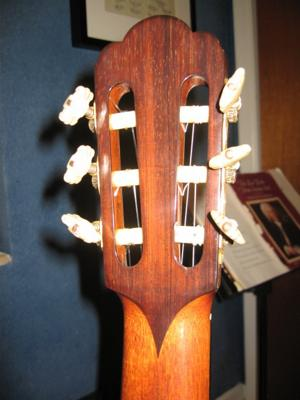1975 Haselbacher Cedar Top back of headstock