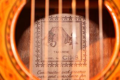 Takamine guitar logo inside instrument. Photo used under a creative commons licence with the kind permission of rabidmuskrat and Flickr