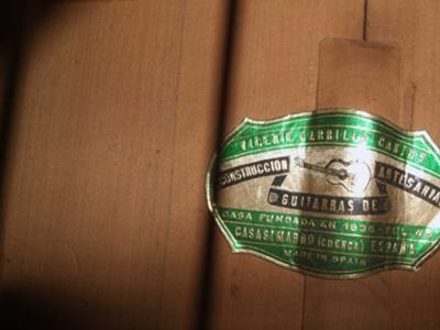 Vicente Carrillo Cantos Flaminco Guitar Label