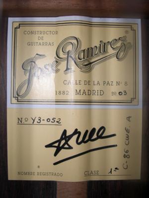 2003 JOSE RAMIREZ GUITAR 1A LABEL