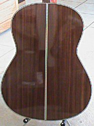 back of the Pimentel Grand Concert guitar