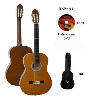 Valencia Full Size Acoustic Guitar with Carry Bag and Instructional DVD. Click to order from Amazon